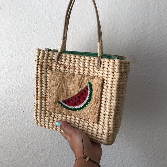 Vintage Handbags - ❣️hold❣️VINTAGE Woven Watermelon Mini Picnic Bag